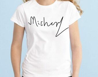 Michael Signature Shirt, Fashion Band T-Shirt, Fan Girl Shirt, 5sos, One Direction, Black Grey White Junior Tshirt, Band Shirt, Tumblr