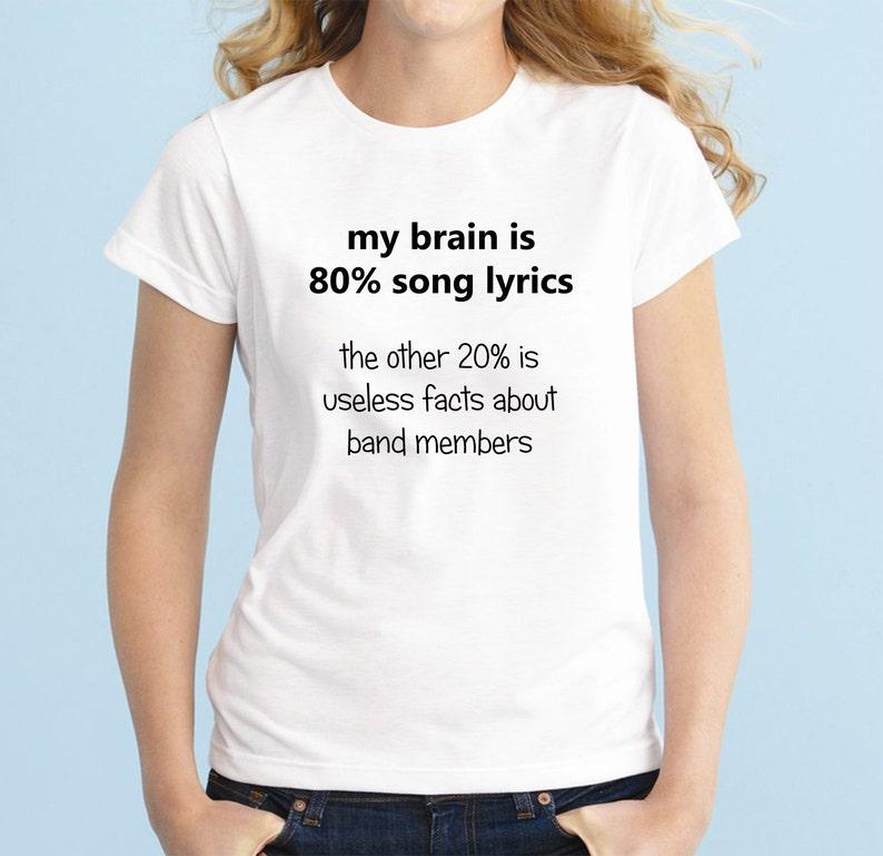 d1ac79d38e20 80% Song Lyrics Fashion Band T-Shirt Fan Girl Shirt 5SOS 5