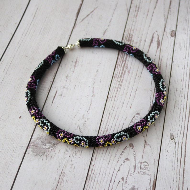 Bead crochet blooming necklace Black blossom necklace Seed bead jewelry Bead flower rope necklace Beadwork Stylish nature inspired jewelry