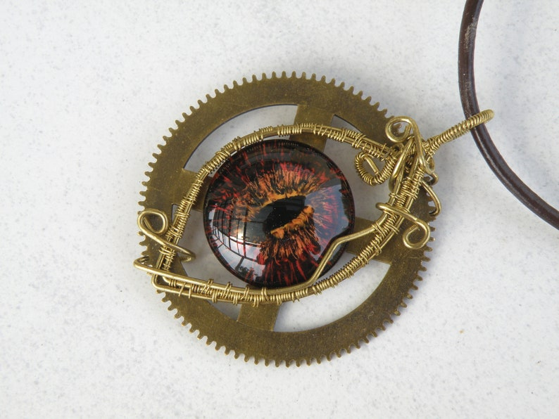 wire wrapped fantasy artisan hand painted eye OOAK Red dragon eye brass wire steampunk necklace