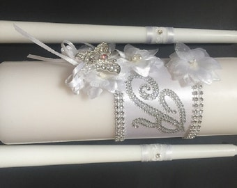 Monogrammed Unity Candle Set. Choose your colors! Church or outdoor bridal candles. Bling monogrammed center with rhinestone butterfly.