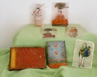 Antique Story Cards, 1800s, Hand Painted, Game, Oriental Characters, Morocco, Perspex Cards, Collectible Cards