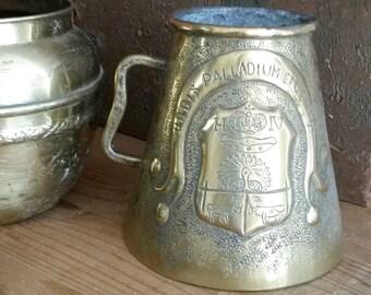 Tankard, Antique Brass Vase, Fleur de Lys, French, Hand-Made, Brass Decor, Primitive Decor