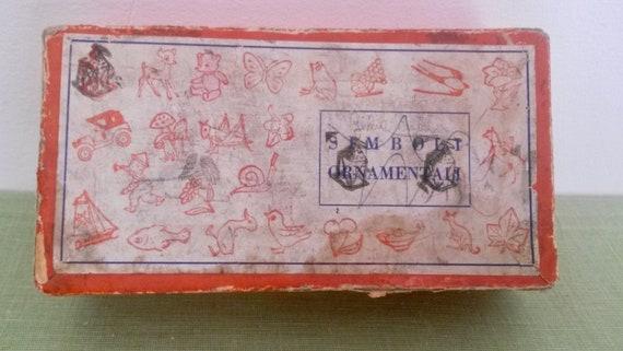 Tampons vintage à l'encre, timbres en bois, estampage tampons Français, timbres en caoutchouc, vieux tampons estampage à l'encre, apprentissage Vintage, années 1940 monnaie timbres 143929