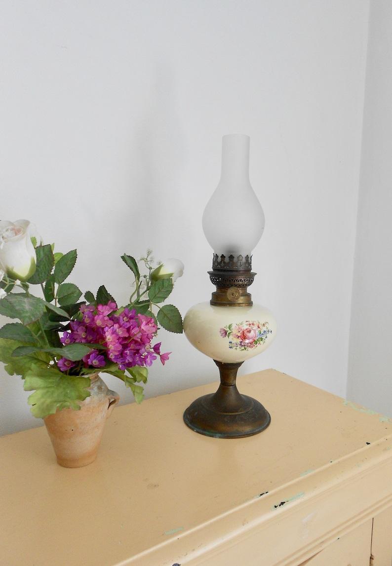Vintage Porcelain Table Lamp Floral Light