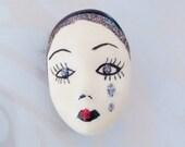 Vintage Mask Brooch, Face, Pierrot