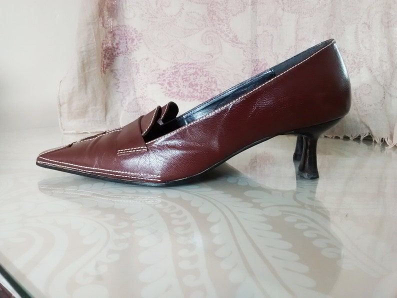 53d758811ba4 Ladies Brown Leather Ravel Shoes Slip On Pumps Kitten Heels