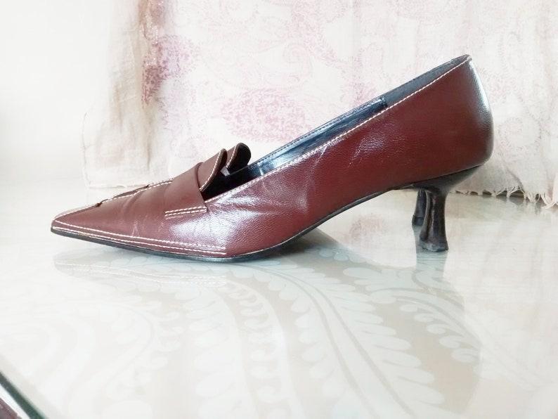 9627c1da80a2 Ladies Brown Leather Ravel Shoes Slip On Pumps Kitten Heels