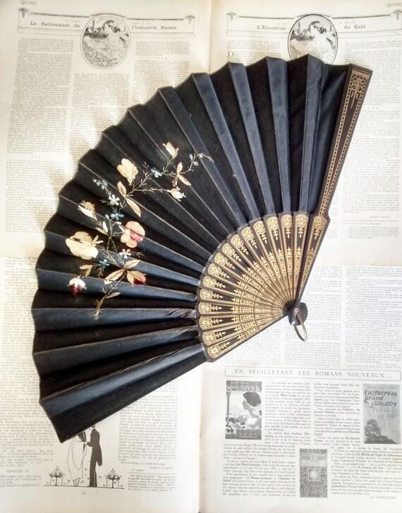 Black Silk Embroidered Hand Fan, Victorian, Mourni