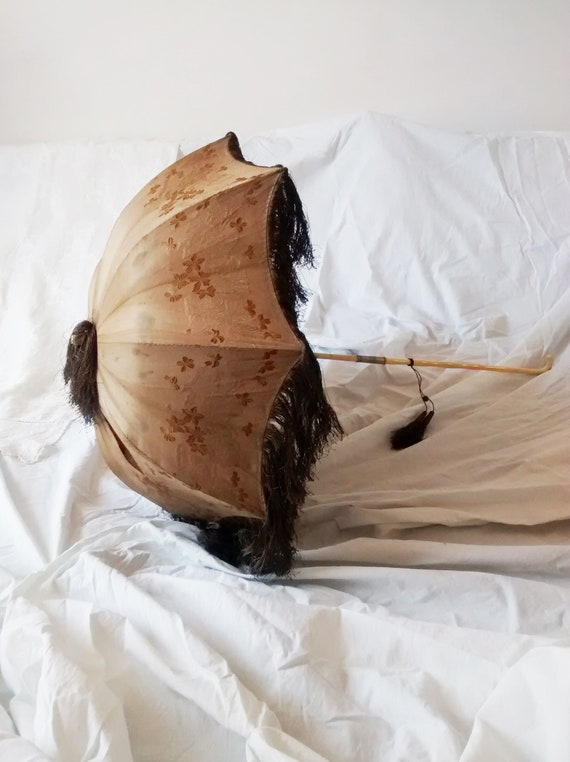 Antique Victorian Carriage Parasol, 1860s, Fringed