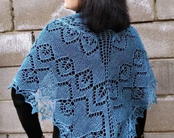 Lace linen Shawl, Blue scarf, Hand knitted shawl, Hand knit summer wrap, Lace cover up, Blue shawl, Openwork wedding, Hand knitting