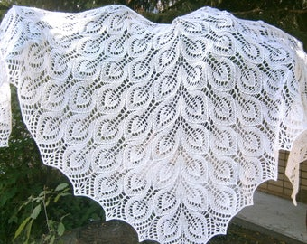 Gale Lace Shawl Knitted lace wedding shawl Bridal shawl Openwork wrap Knit wrap White hand knit shawl Wool lace shawl Boho wedding scarf