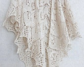 Wedding Ivory shawl. Bridal white cashmere shawl. Lace Knitted shawl Hand knitting Lace knit scarf Boho cover up Openwork Wrap bolero