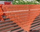 Bright lace knitted shawl. Knit triangular shawl, Orange boho wrap