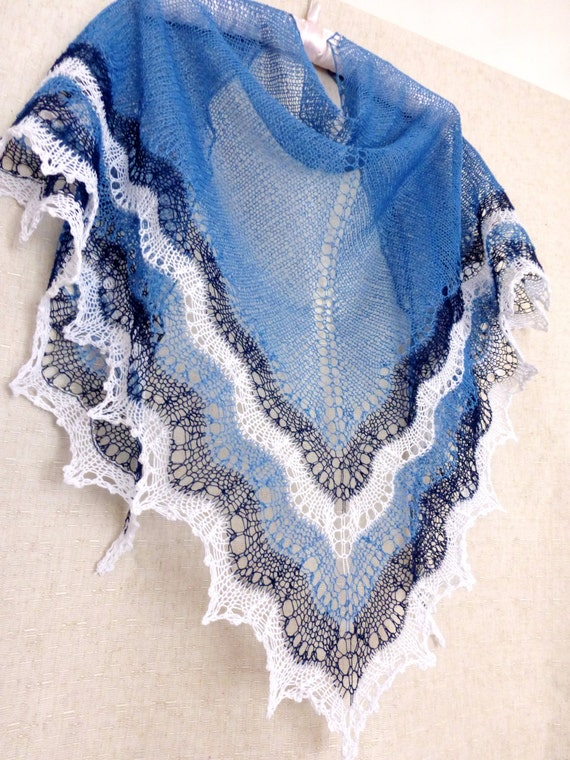 Lace Shawl Linen.  Hand Knitted Shawl. Made To Order! Hand Knit Summer Shawl. Lace Scarf, Blue Shawl. Linen Shawl. Openwork