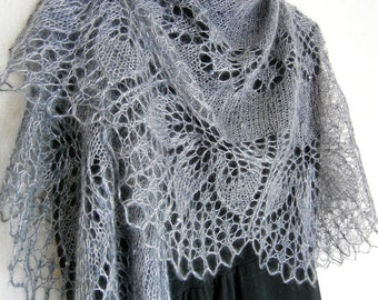 Lace Shawl Knit shawl Mohair knitted wrap Hand knitted shawl Gray Smoke shawl Openwork Boho shawl Bridal shawl Hand knitting Wedding shawl