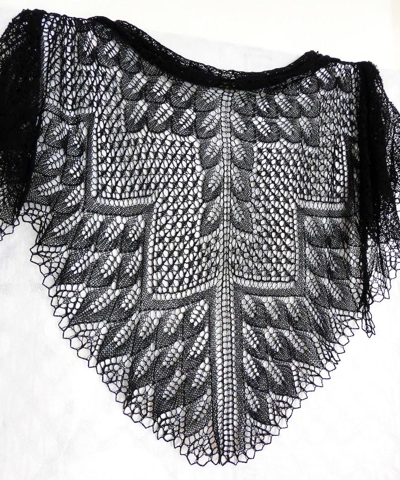 23a42a0611 Black lace shawl. Knit wedding wrap. Bridal boho shawl. Black   Etsy