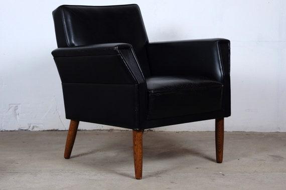 Strange Mid Century Danish Black Leather Easy Chairs Set Of 2 Inzonedesignstudio Interior Chair Design Inzonedesignstudiocom