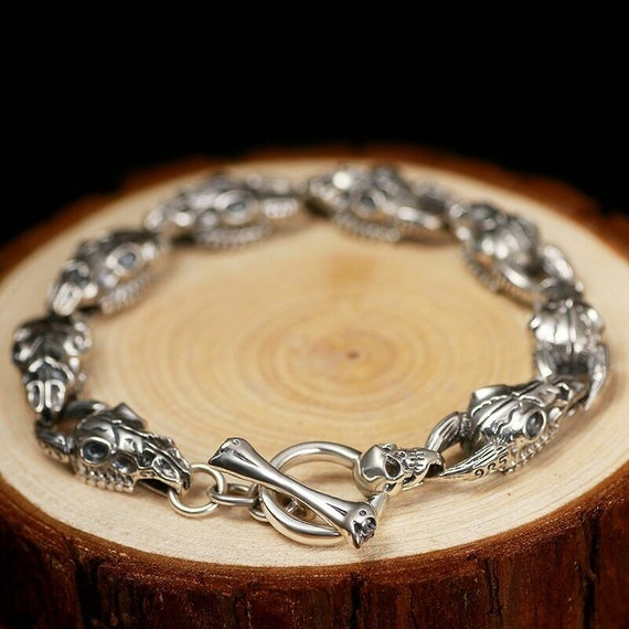 Silver Bangle Bracelet link Vintage Jewerly Silver accessories Sterling 925 Hand made Russian silver Gift for women men