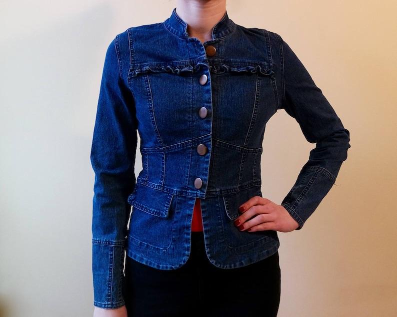 65d09506bcf0c Vintage Denim Jacket Bright Blue Jeans Jacket Slim fit