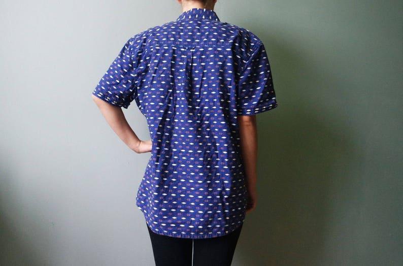 ef686cb0117fe Vintage Blue Denim Mens Shirt Printed With Ornaments Summer Edition  Festival Clothing Old School Oxford Shirt