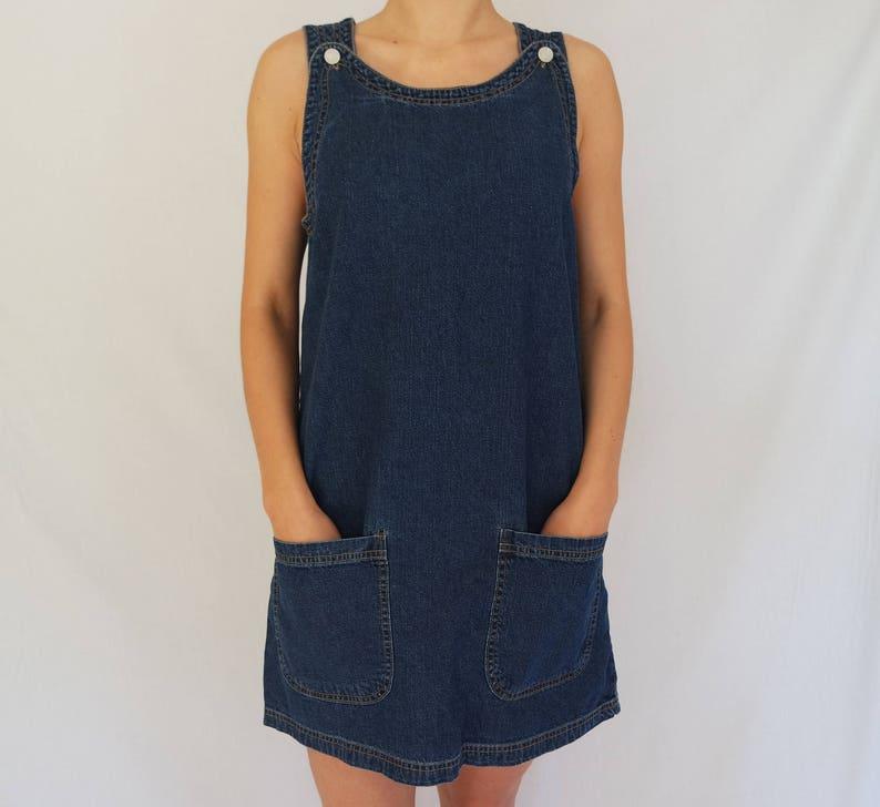 d6bdfb30b7 Blue Denim Dress Overalls Vintage Mini Dress Sarafan Overalls