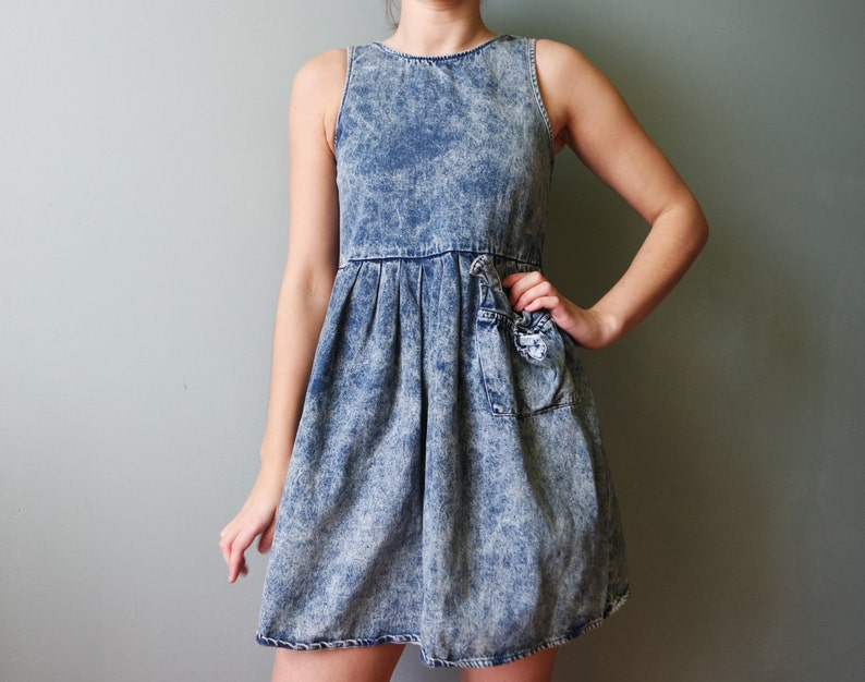 058a0c11ba Vintage Denim Mini Dress Jeans Sarafan Miniskirt Skirt