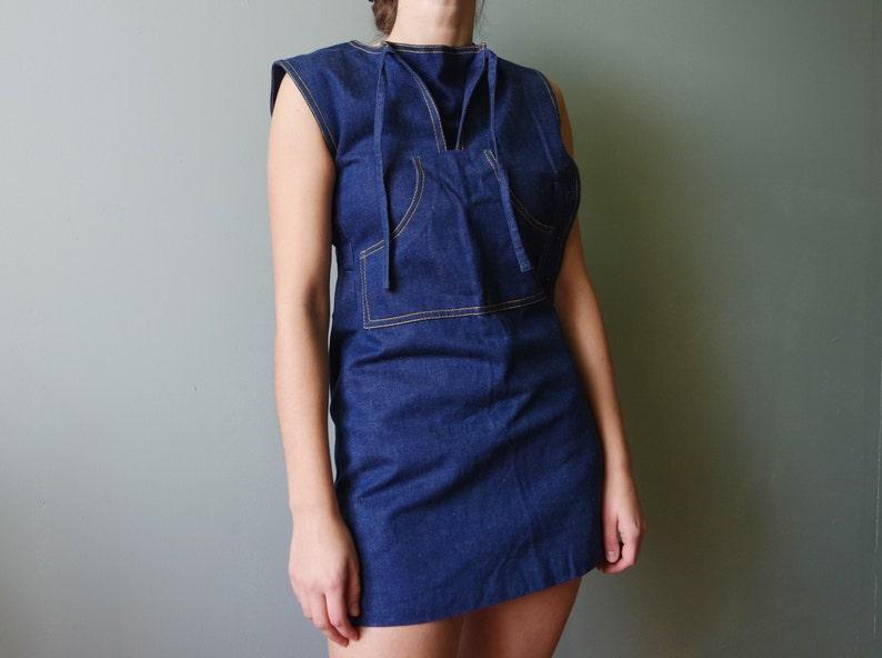2f74187b25 Vintage Denim Overalls Mini Dress Sarafan Overalls Miniskirt
