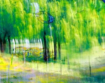 "Modern wall art, Fine Art Photograph, ""Forest #1,"" abstract landscape, green, blue, yellow, modern art, print, signed, custom printed, trees"
