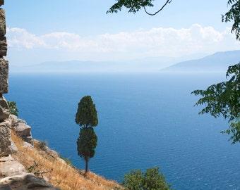The Aegean at Nafplio, signed custom printed fine art photo, Greece, serene, water, seascape, blue, modern art, wall decor