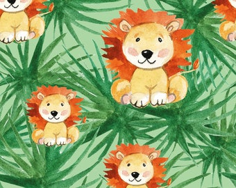 EUR 15.90/meter Jersey Lion Palms DIGITAL Green Yellow Brown Fabric for Kids to Sewing Dresses T-Shirts Beanies Pants 0.50mx1.50 m Art 3063