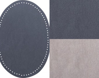 Stains imitation suede large 14 x 9.5 cm, patches oval in smoky blue or grey silver KW151