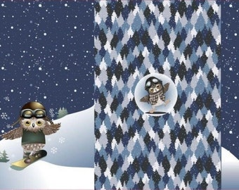 3 Panels Owl Snowboard Winter Forest Ski Winter Sports for Kids Boys for Sewing Kids Clothes Shirts Hoodies 0.75mx1.50 m Art 2877