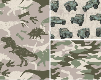 EUR 17,90/meter French Terry with jeeps, camouflage or dinosaur to combine 0,50mx1,50 m Art 3272