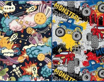 EUR 19,90/meter French Terry DIGITAL PRINT Trucks Cars & Space Rockets Stars Planet Children's Clothing Shirts Dresses Pants 0,50 x 1,50 m Art 3229