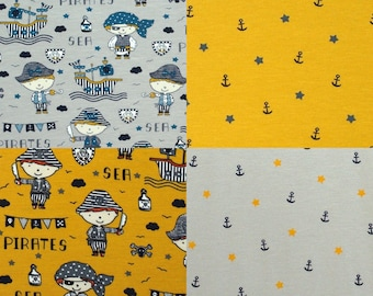 EUR 14.50/meter Jersey Pirate Skulls Anchor Star Pirate Cotton Jersey 4 Maritime Fabrics to Combine for Kids Sewing0,50mx1.50 m Art 3138