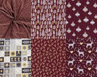 12.90/meter cotton Christmas fabrics in Bordeaux, grey, GOLD, to combine 0,50mx1,45 m Art 3288