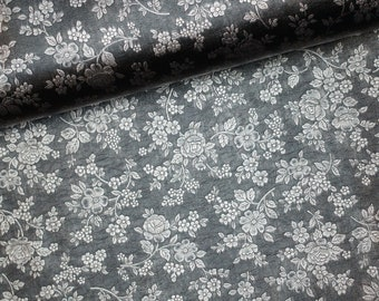 EUR 19.90/meter artificial leather with floral pattern Black-Silver Metallic 0,50mx1,38 m Art 3325