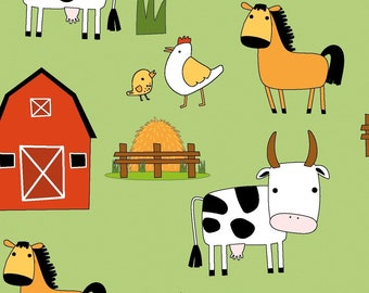 EUR 14.50/meter Jersey Animals Farm Cow Horse Fabric for Kids Babies for Sewing Dresses T-Shirts Beanies Pants Loops 0.50mx1.50 m Art 3067