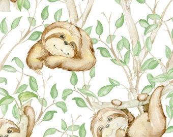 EUR 16.90/meter Jersey sloth DIGITAL wool white beige green brown fabric kids sewing dresses T-Shirts Beanies pants 0.50mx1.50 m Art 3072