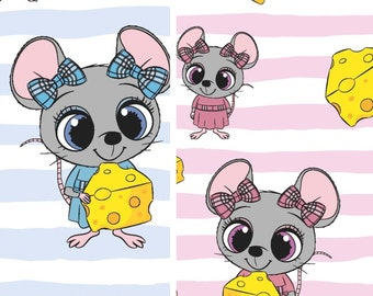 EUR 16.90/meter French-Terry Mice Cheese Stripe Summer Sweat Fabric for Kids to Sew Dresses T-Shirts Pants Hoodies 0.50mx1.50 m Art 3094