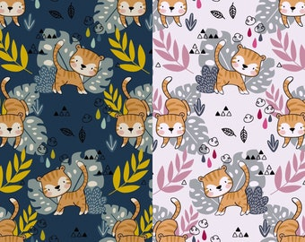 EUR 14.50/meter Jersey Tiger Cats Palm Leaves DIGITAL White -Pink, Blue Mustard Baby- Kids Fabric Fabric Dresses Shirts 0.50mx1.50 m Art 3110