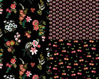 EUR 13.90/meter Coated Cotton Waxcloth Flowers Flowers Cherries Vintage Retro Laminates Cotton Fabric Sewing Crafts 0.50mx1.48 m Art 3144