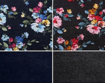 EUR 17.90/meter Alpensweat Flowers & Uni Jeans look to combine navy blue or black 0,50mx1,50 m Art 3296