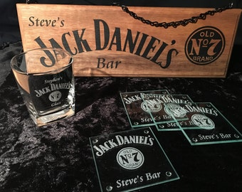 Personalised Jack Daniels Kit - Sign, Glass & Coasters Engraved - Can Also Do Jim Beam, Johnnie Walker, Coopers, Bundy, Corona, Wild Turkey