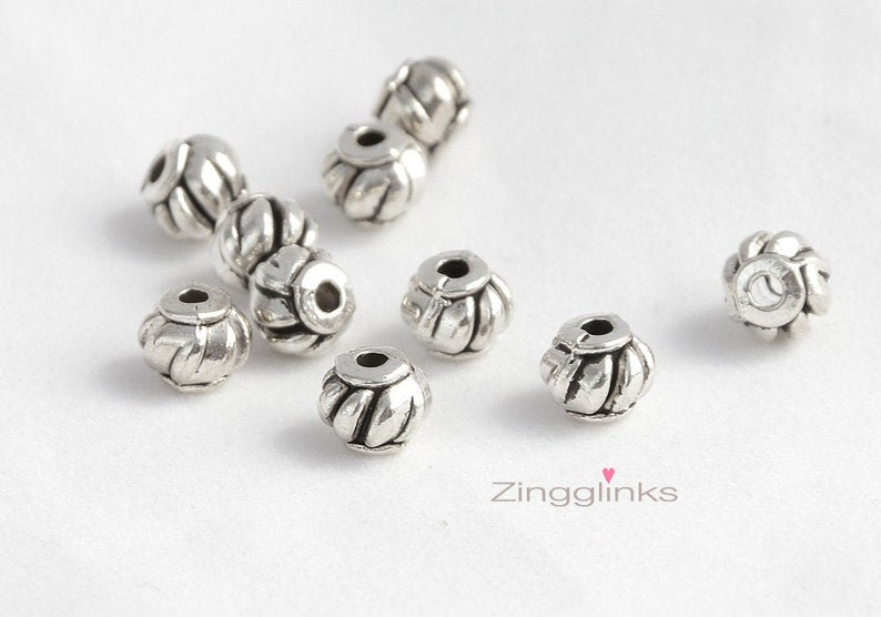 12Pcs Antiqued Silver Tone Flower Round Cone Spacer Beads Charms 7mm