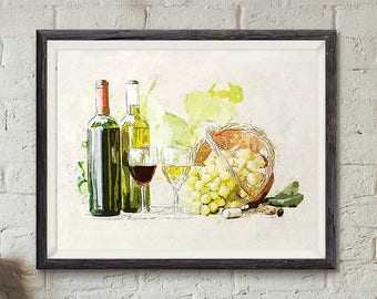 Red and white wines, Wine Art, Wine print, Wine lovers, Kitchen illustration, food illustration, gourmet , drinking print, Wine decoration,