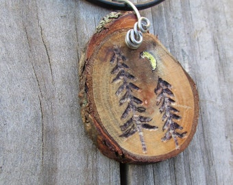 Wood Slice Pine Tree Necklace, Pine Trees & Crescent Moon Necklace, Pine Tree and Crescent Moon, Crescent Moon Necklace, Camping Necklace