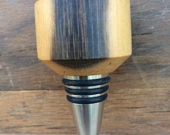 Black and White Ebony  Wood Turned Wooden Wine Bottle Stopper