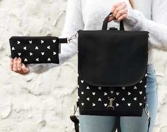 Black Mickey Mouse Backpack Vegan Disney Bag, Women Cross Body Bag, Mickey Backpack and Purse, Waterproof Bag for Mickey Lovers